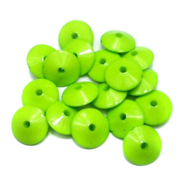 100 Neon RONDELLE Beads Lime 8x15