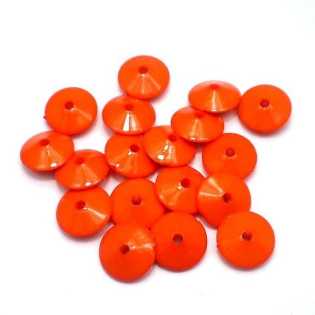 100 Neon RONDELLE Beads Orange 8x15
