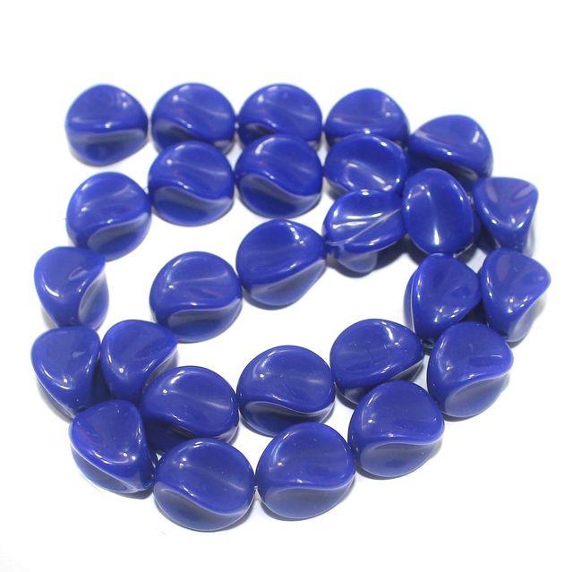 2 Strings Acrylic Neon Tumble Beads Dark Blue 15x11