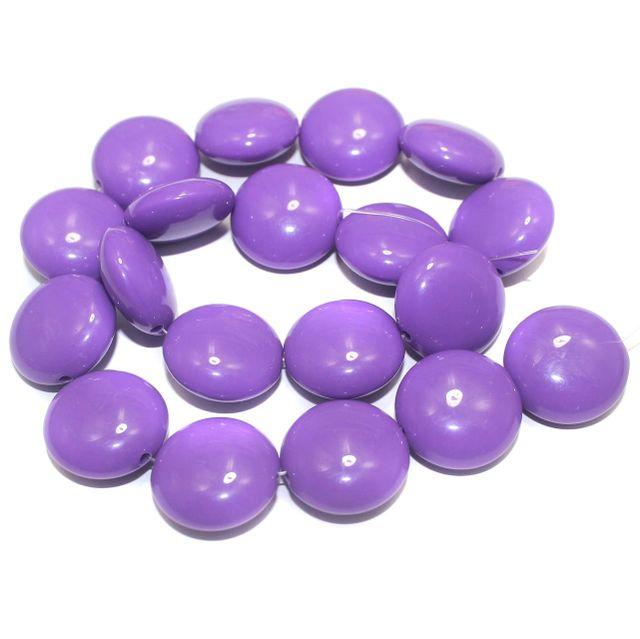 2 Strings Acrylic Neon Flat Round Beads Purple 22