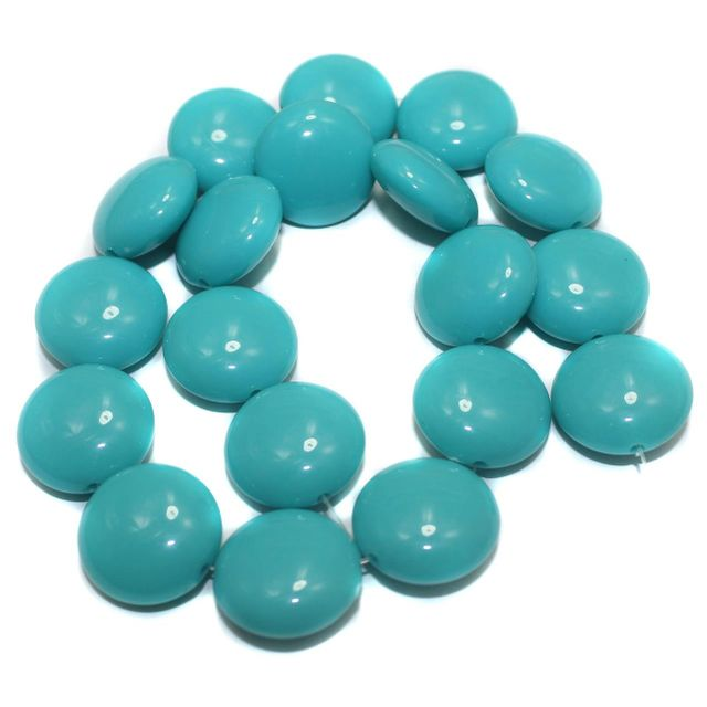 2 Strings Acrylic Neon Flat Round Beads Turquoise 22