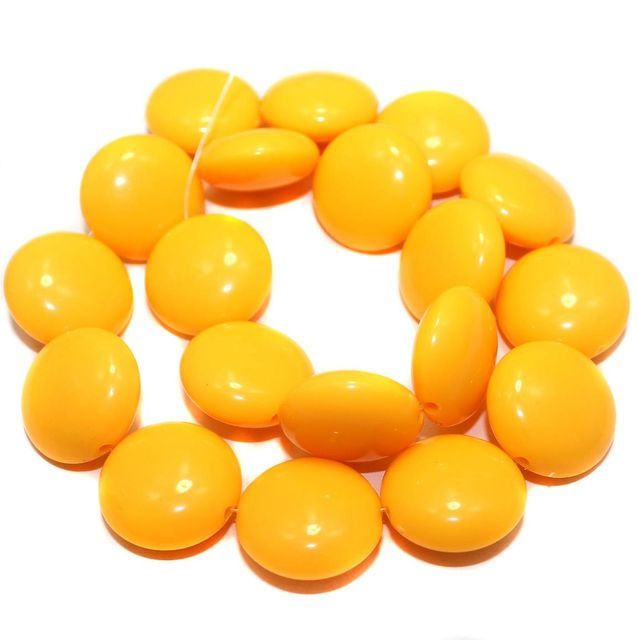 2 Strings Acrylic Neon Flat Round Beads Yellow 22