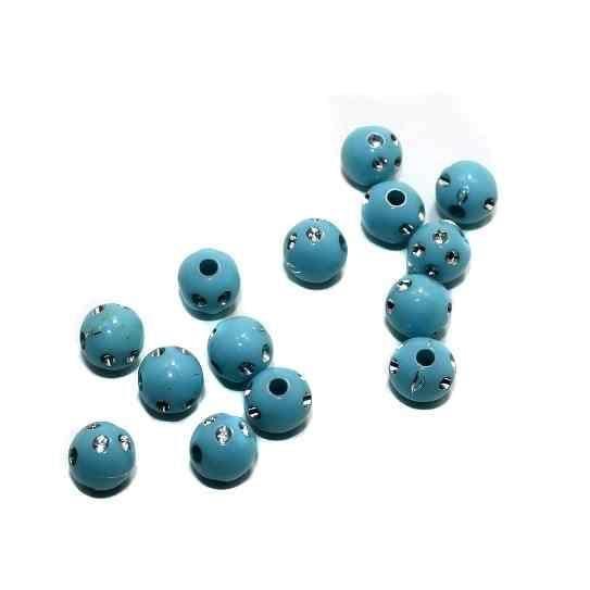 100 Gm Acrylic Round Beads Turquoise 7