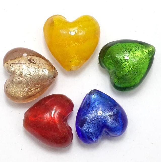 Silver Foil Heart Beads Assorted 18mm 1 String