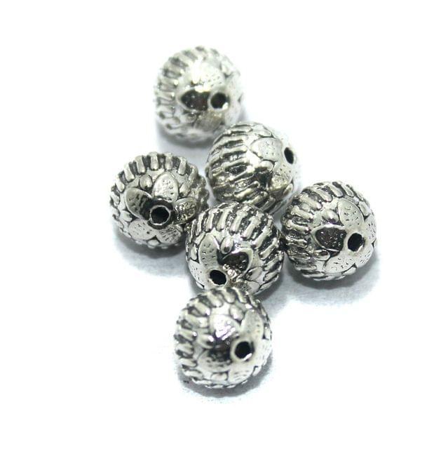25 Pcs. German Silver Beads, Size-9mm