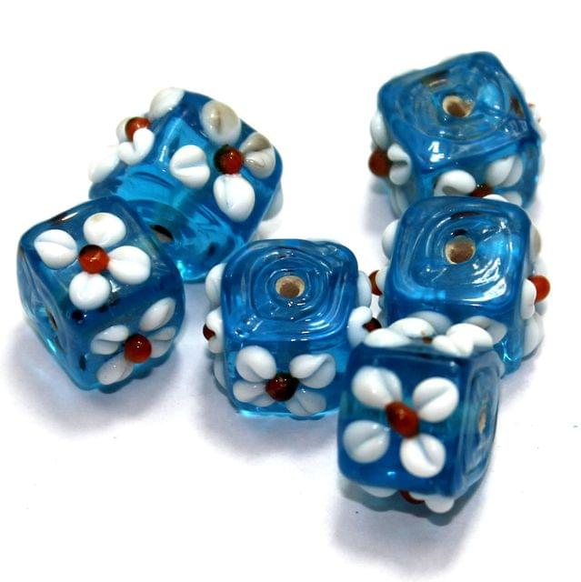 20 Flower Cube Beads Blue 15 mm