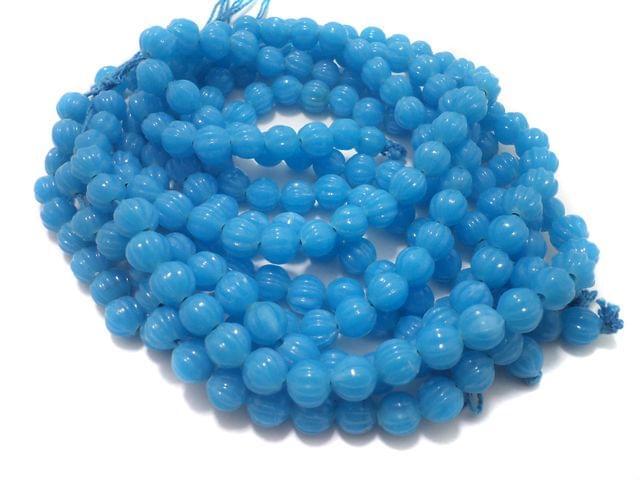 5 Strings Glass Kharbooja Beads Sky Blue 10 mm