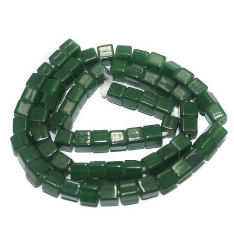 5 Strings of Jaipuri Cube Beads Green 6