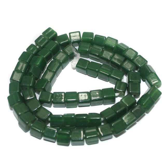 5 Strings of Jaipuri Cube Beads Green 6