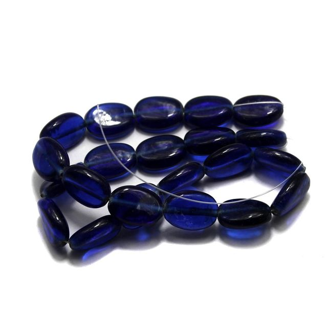 5 strings of Glass Oval Beads Blue 15x12