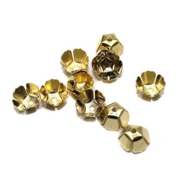 250 Metal Bead Caps Golden 8x5