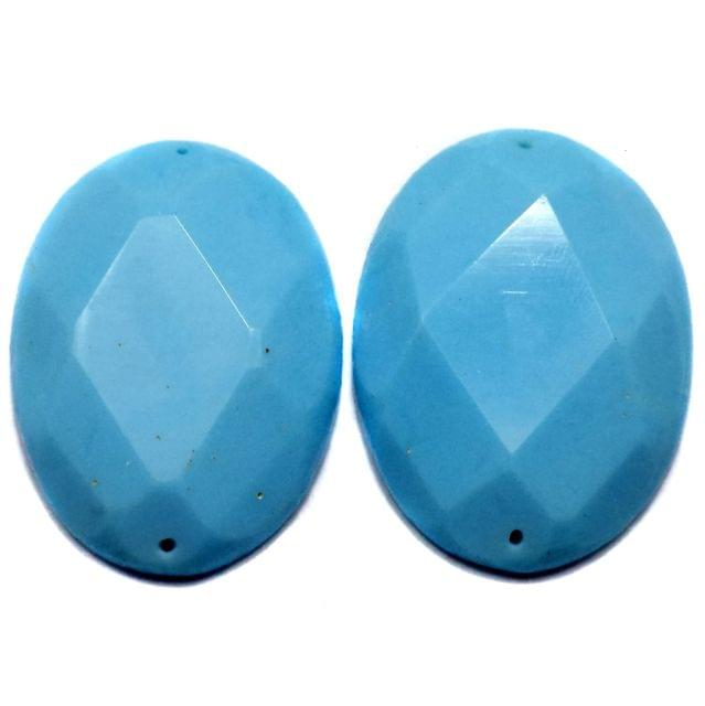 4 Faceted Cabochon Beads Turquoise 42x30