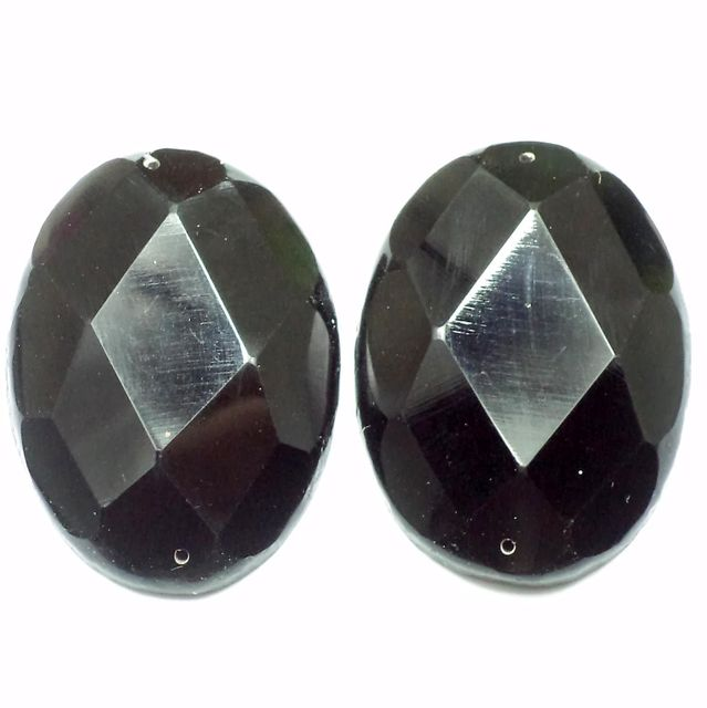 4 Faceted Cabochon Beads Black 42x30