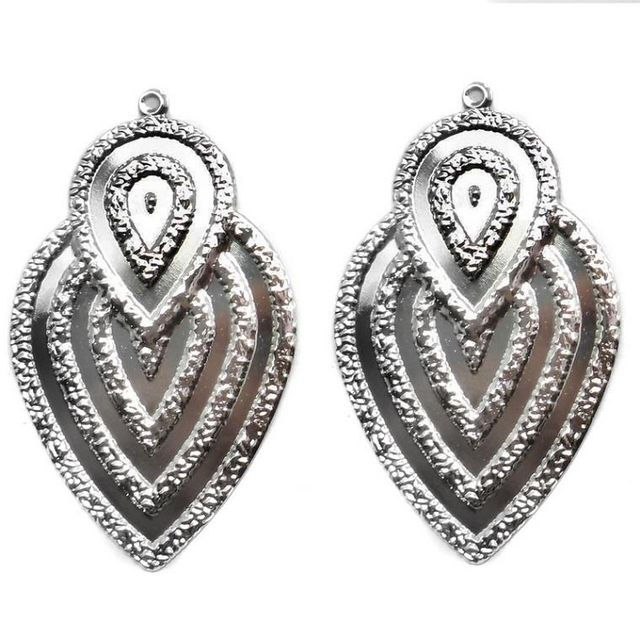 2 Pair Ear Ring Leaf Component Silver 2.50X1.50 Inch