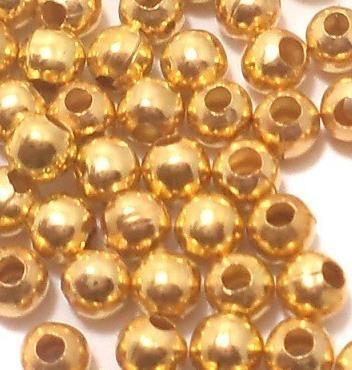 50 Gm. German Silver Round Beads Golden 4 mm