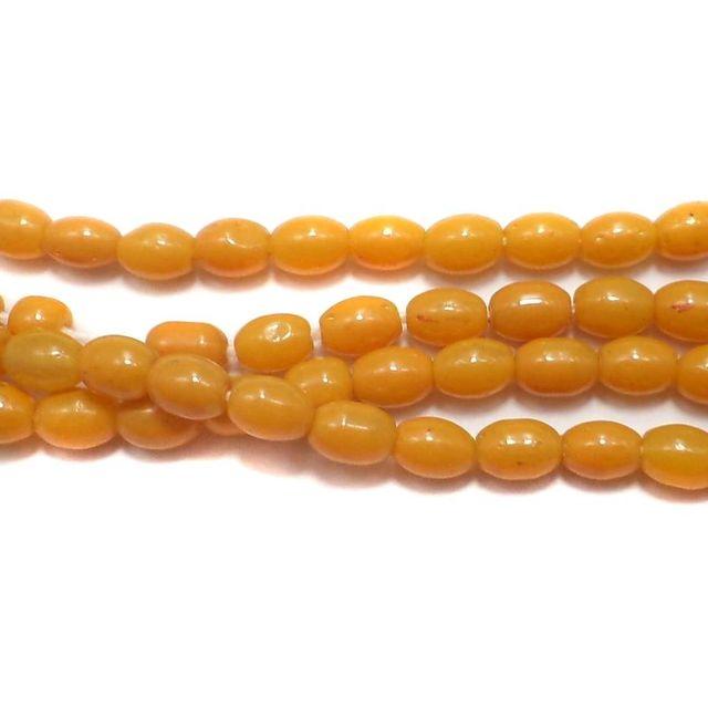 Jaipuri Beads Yellow Oval 5 Strings 6x4mm