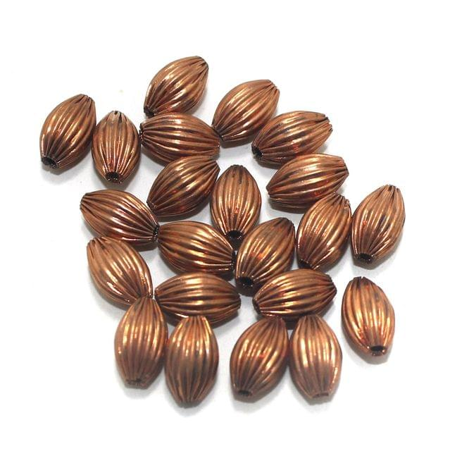 50 Liner Oval Beads Copper 12x8