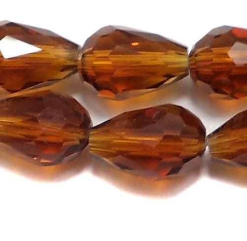 60 Faceted Crystal Drop Beads Brown 12x8 mm