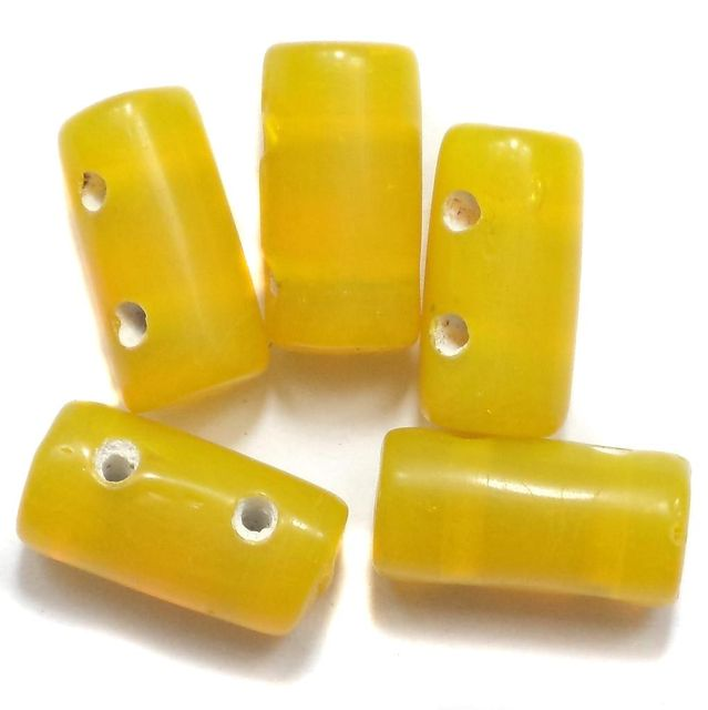 10 Spacer Tube Beads 2 Hole Yellow 16x10