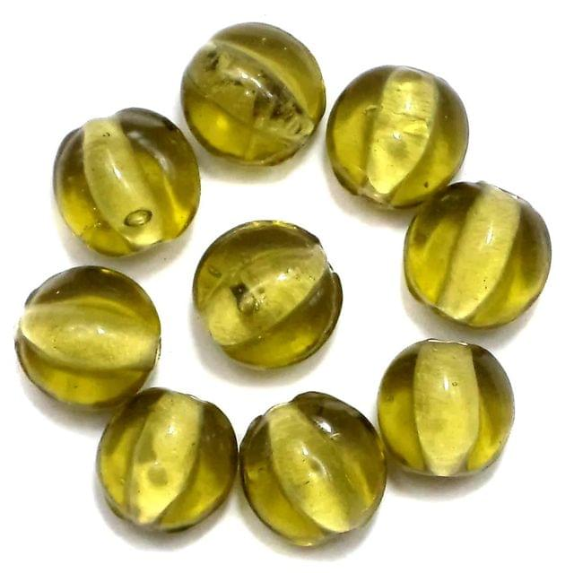 110+ Glass Round Beads Olive Green 10x6