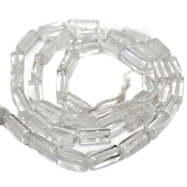 40+ Semiprecious Beads Rectangle Trans White 10x4
