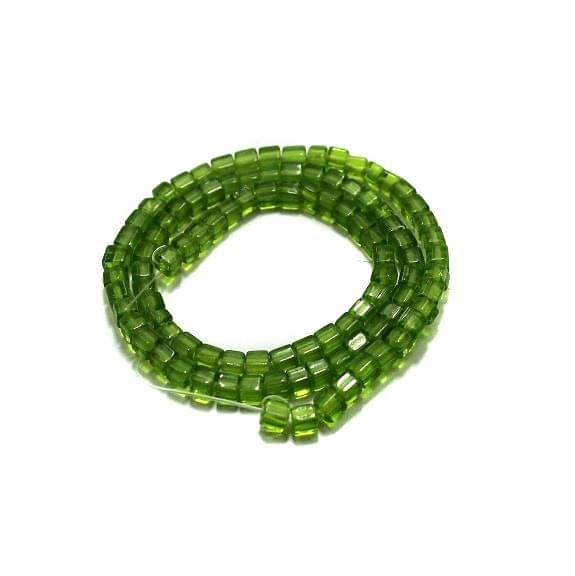 5 strings Glass Cube Beads Green 4