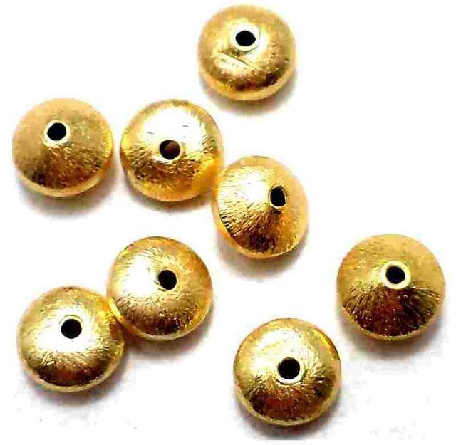 50 German Silver Brushed Beads Rondelle Disc Golden 8