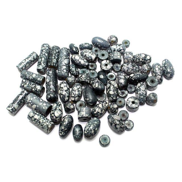 200+ Marble Beads Black 5-22