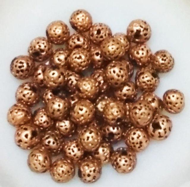 "100 pcs Bronze Terracotta 7mm round ""rudraksha"" beads"