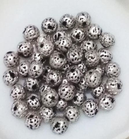 "100 pcs Silver Terracotta 7mm round ""rudraksha"" beads"