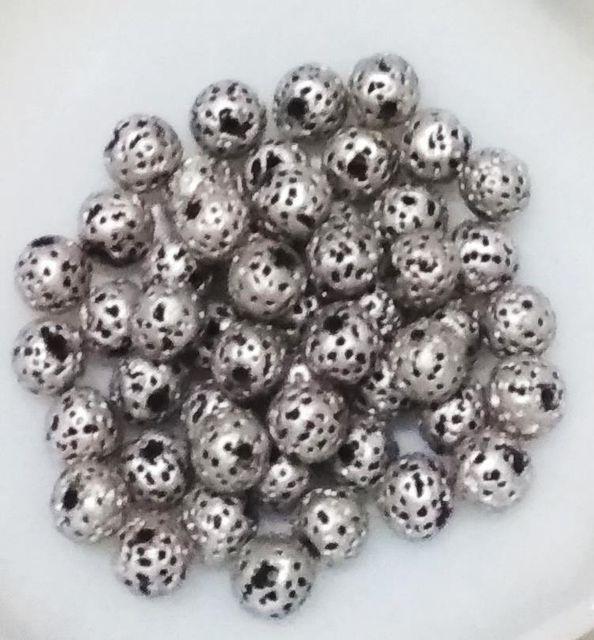 "100 pcs Silver Terracotta 7mm round ""rudraksha"" beads"