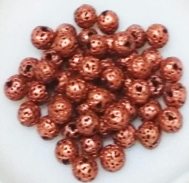 "100 pcs Copper Terracotta 7mm round ""rudraksha"" beads"