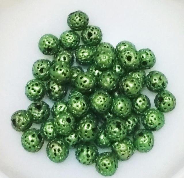 "100 pcs Metallic Green Terracotta 7mm round ""rudraksha"" beads"