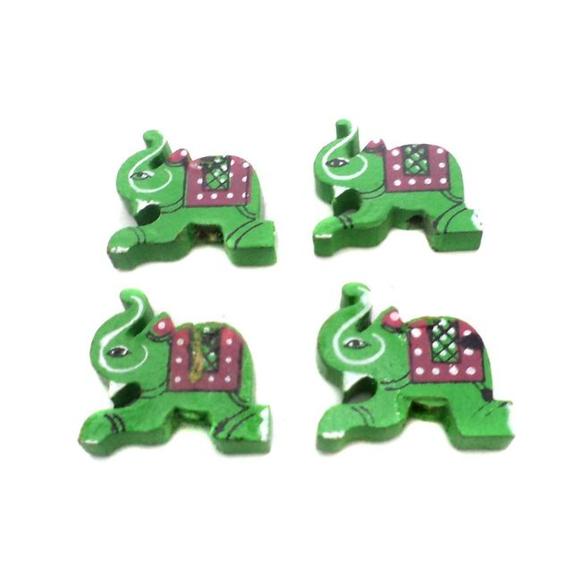 50 Pcs. Wooden Elephant Beads Green 0.85x0.75 Inch