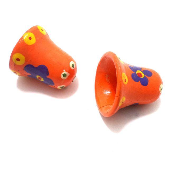 25 Pcs. Wooden Bells Beads Orange 1x1 Inch