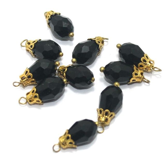 Faceted Loreal Beads Trans Black 100 Pcs 12x8mm