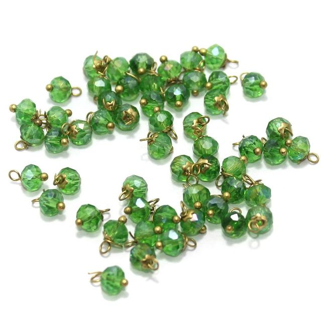 Faceted Loreal Beads Trans Green 200 Pcs 4mm