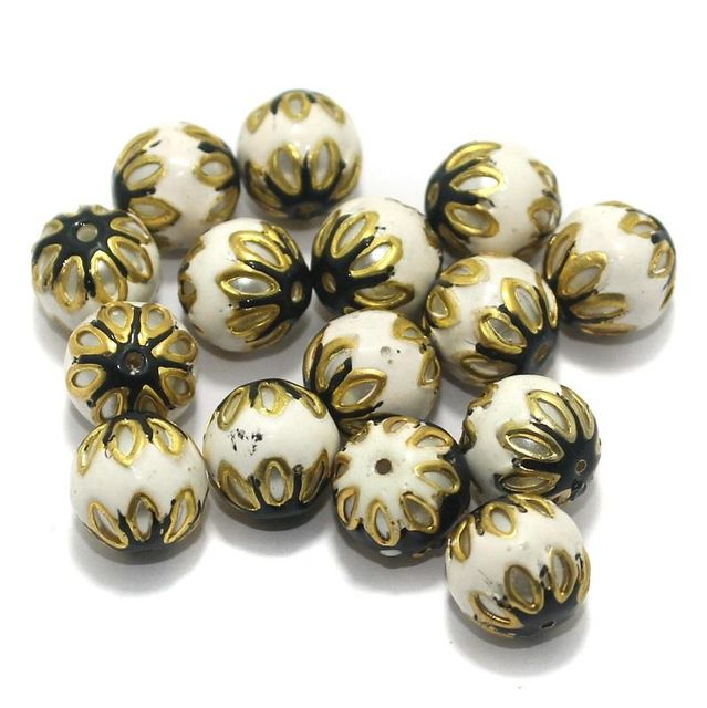 Meenakari Round Beads 12mm White