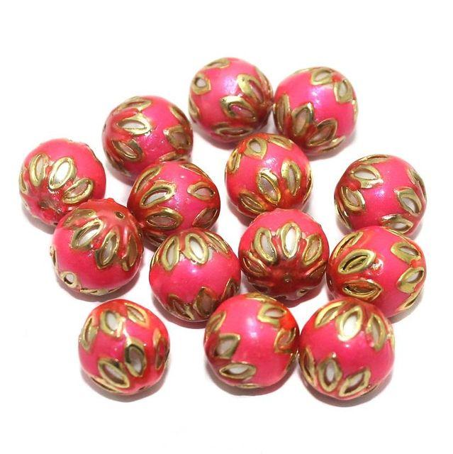 Meenakari Round Beads 12mm Hot Pink