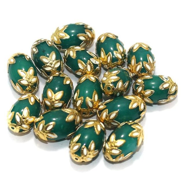 Meenakari Oval Beads 15x10mm Green