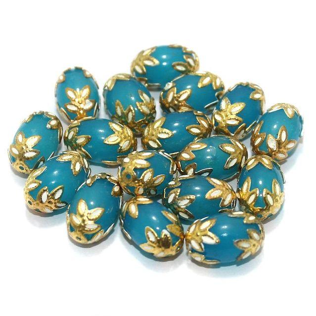 Meenakari Oval Beads 15x10mm Turquoise