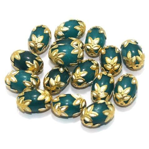 Meenakari Oval Beads 15x10mm Teal
