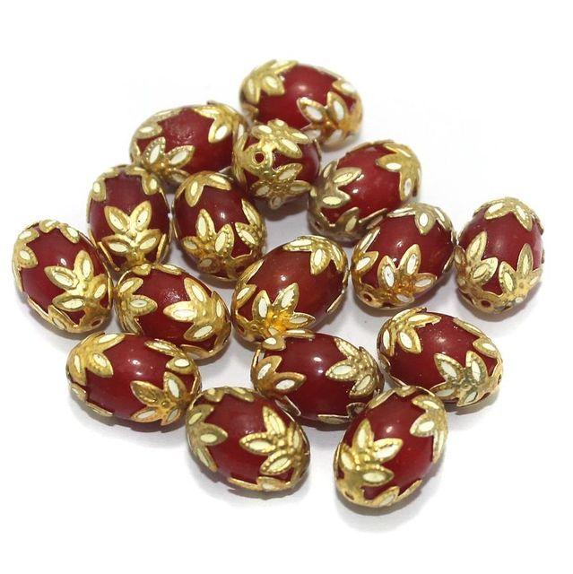 Meenakari Oval Beads 15x10mm Red