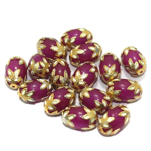 Meenakari Oval Beads 15x10mm Magenta