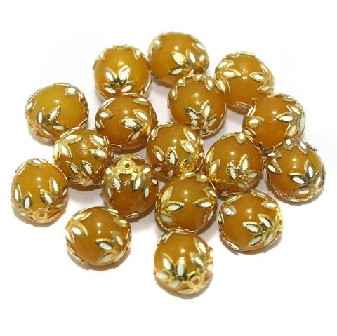 Meenakari Round Beads 12mm Yellow