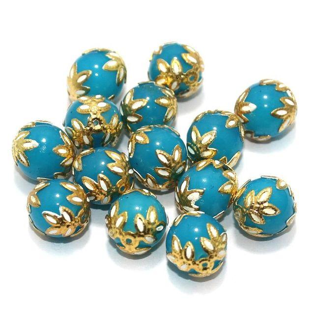 Meenakari Round Beads 12mm Turquoise