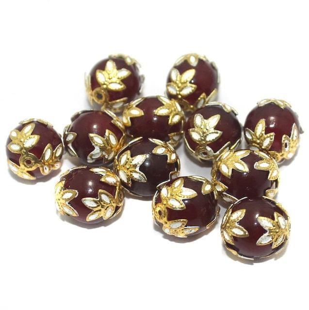Meenakari Round Beads 12mm Red
