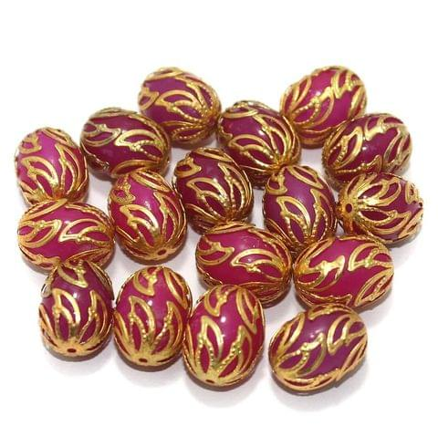 Meenakari Oval Beads 17x13mm Magenta