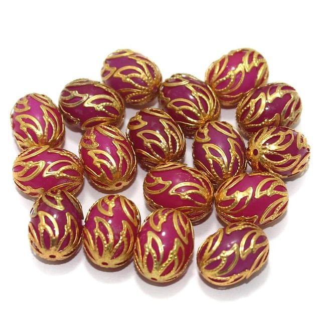 Meenakari Oval Beads 17x13mm Magenta