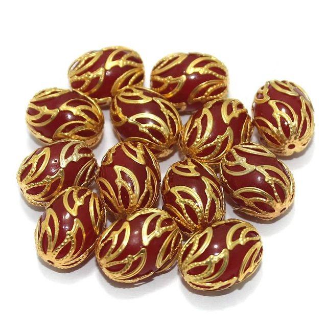 Meenakari Oval Beads 17x13mm Red